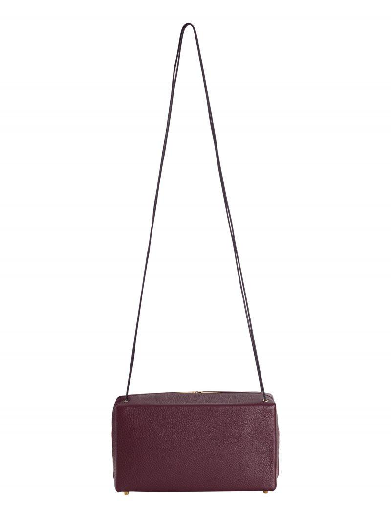 LINDEN shoulder bag in burgundy calfskin leather | TSATSAS
