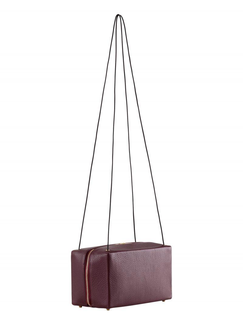 LINDEN shoulder bag in burgundy calfskin leather   TSATSAS