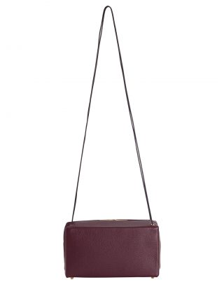 LINDEN shoulder bag in burgundy calfskin leather | TSATSAS