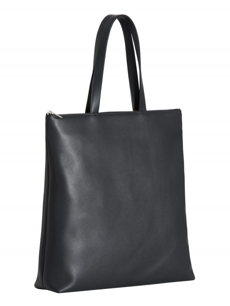 LUCID L tote bag in black calfskin leather | TSATSAS