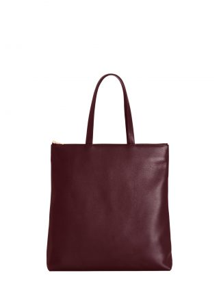 LUCID L tote bag in burgundy calfskin leather | TSATSAS