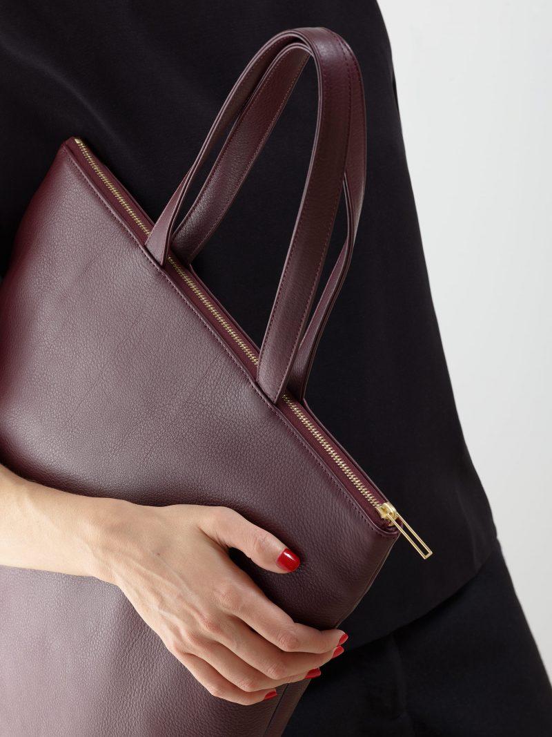 LUCID L tote bag in burgundy calfskin leather | TSATSAS