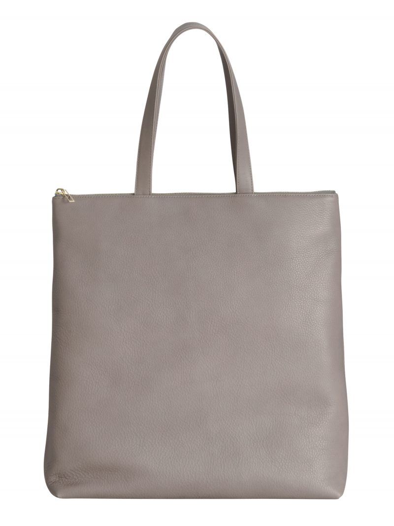 LUCID L tote bag in grey calfskin leather | TSATSAS