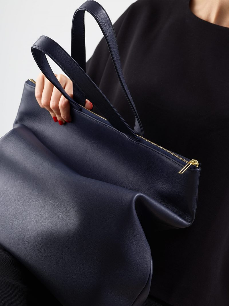 LUCID L tote bag in navy blue calfskin leather | TSATSAS