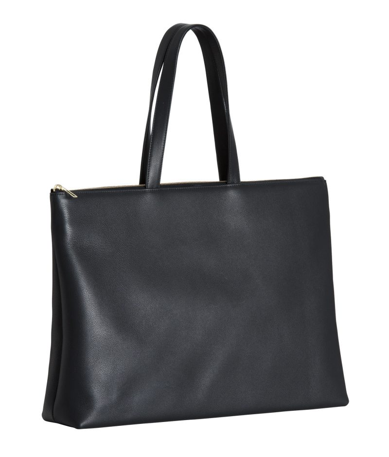 LUCID NINETY L tote bag in black calfskin leather | TSATSAS