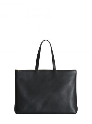 LUCID NINETY L tote bag in black calfskin leather | TSATSAS