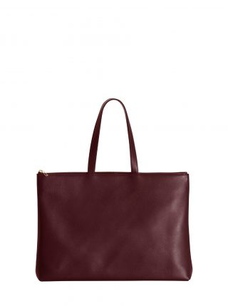 LUCID NINETY L tote bag in burgundy calfskin leather | TSATSAS