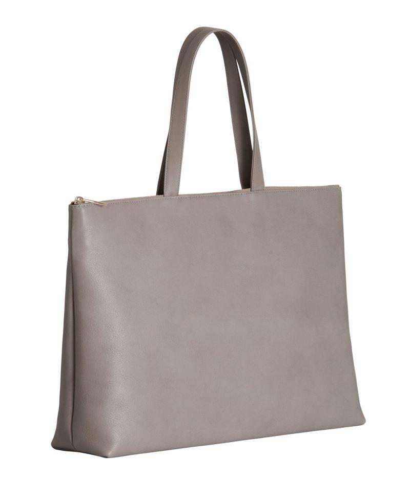 LUCID NINETY L tote bag in grey calfskin leather | TSATSAS