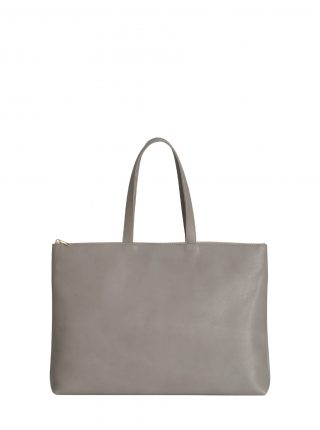 LUCID NINETY L tote bag in grey calfskin leather | TSATSAS