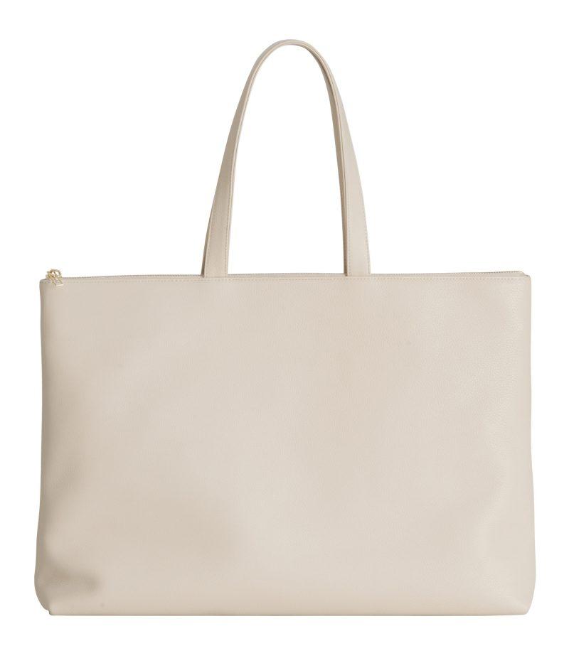 LUCID NINETY L tote bag in ivory calfskin leather | TSATSAS