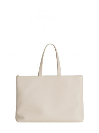 LUCID NINETY L tote bag in ivory calfskin leather | TSATSAS