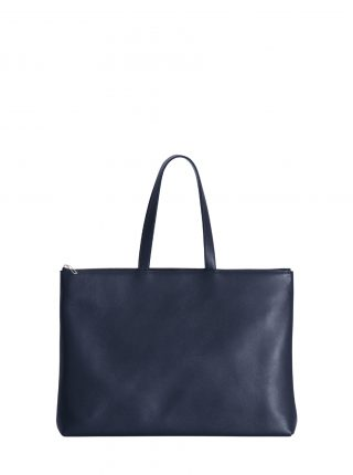 LUCID NINETY L tote bag in navy blue calfskin leather | TSATSAS