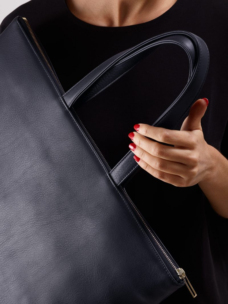 LUCID NINETY L tote bag in navy blue calfskin leather   TSATSAS