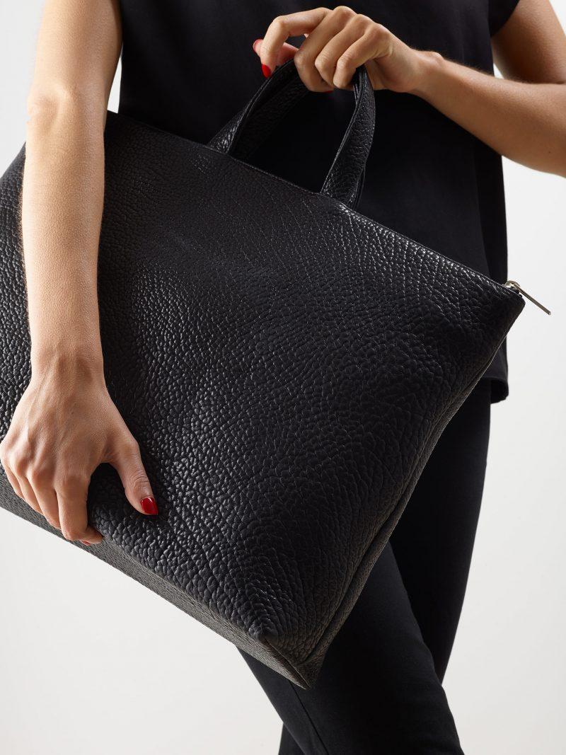LUCID NINETY tote bag in black bison leather | TSATSAS