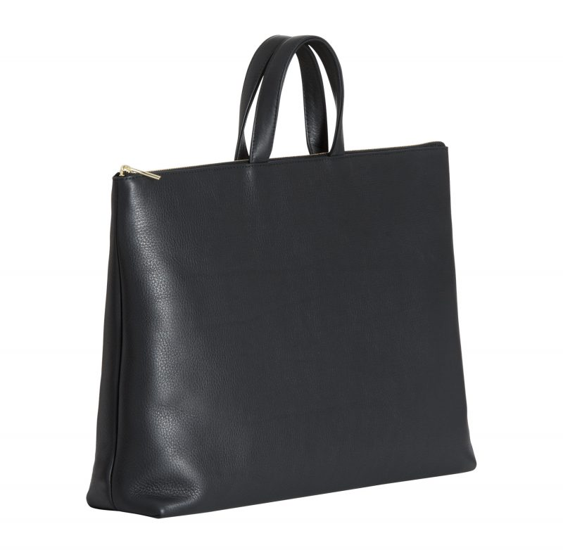 LUCID NINETY tote bag in black calfskin leather | TSATSAS