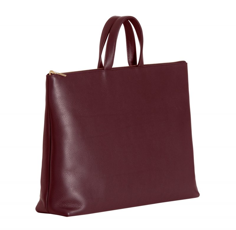 LUCID NINETY tote bag in burgundy calfskin leather | TSATSAS