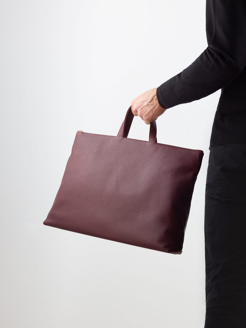 LUCID NINETY tote bag in burgundy calfskin leather | TSATSAS