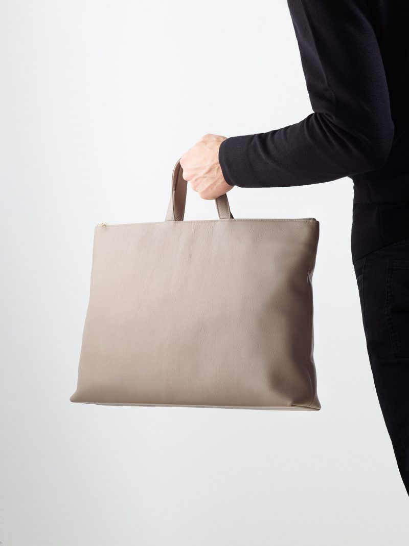 LUCID NINETY tote bag in grey calfskin leather | TSATSAS