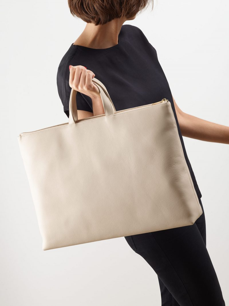LUCID NINETY tote bag in ivory calfskin leather | TSATSAS
