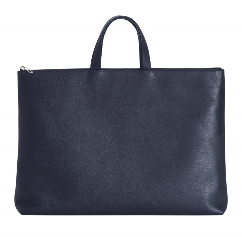 LUCID NINETY tote bag in navy blue calfskin leather | TSATSAS