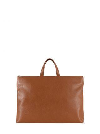 LUCID NINETY tote bag in tan calfskin leather | TSATSAS