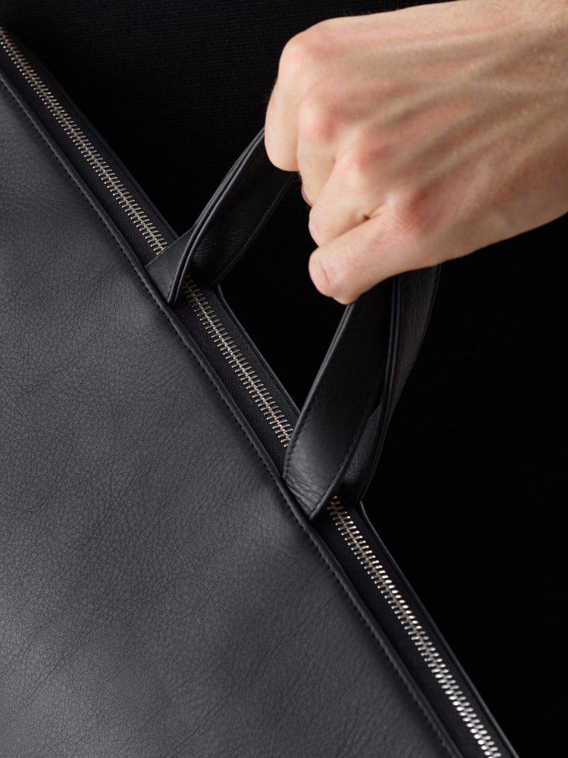 LUCID tote bag in black calfskin leather   TSATSAS