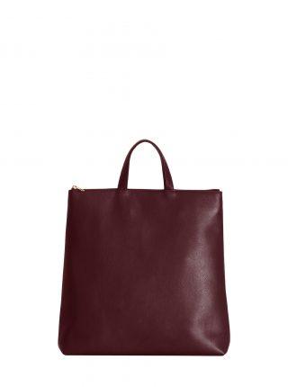 LUCID tote bag in burgundy calfskin leather | TSATSAS