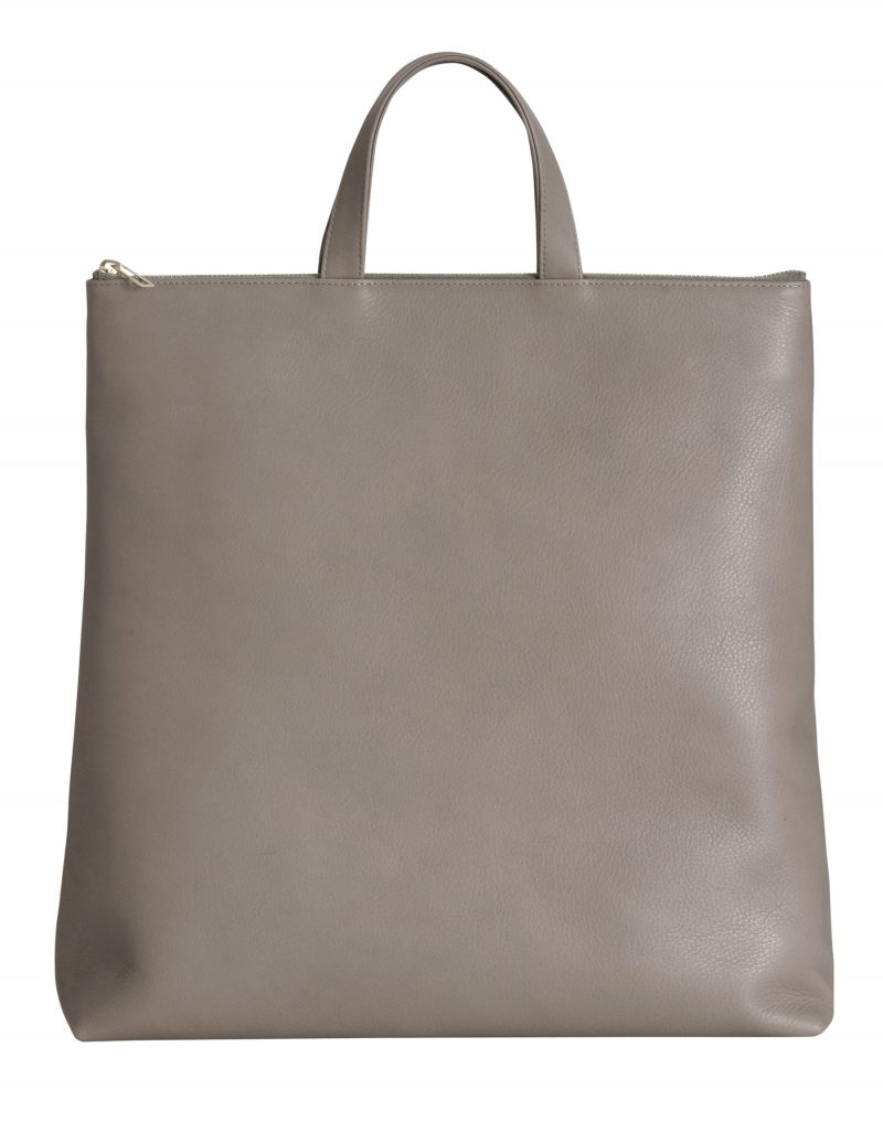 LUCID tote bag in grey calfskin leather | TSATSAS