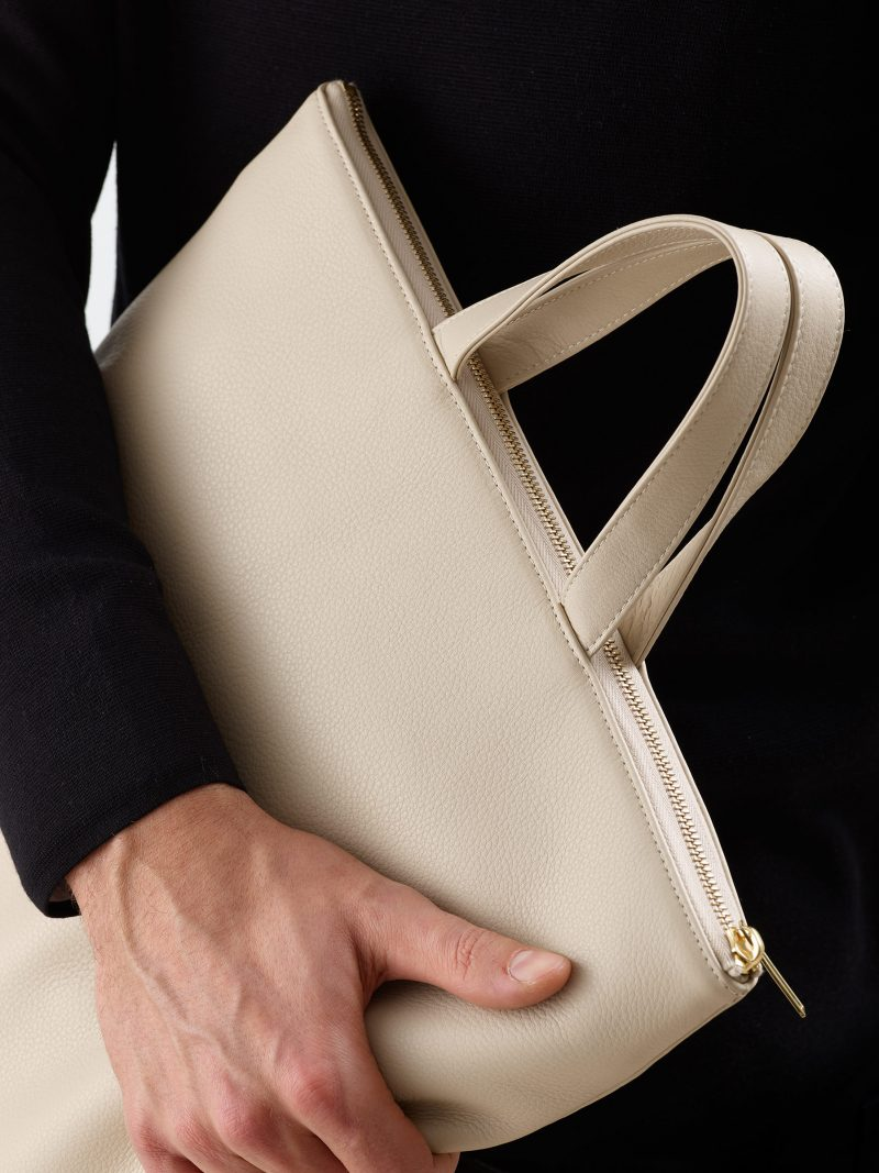 LUCID tote bag in ivory calfskin leather | TSATSAS