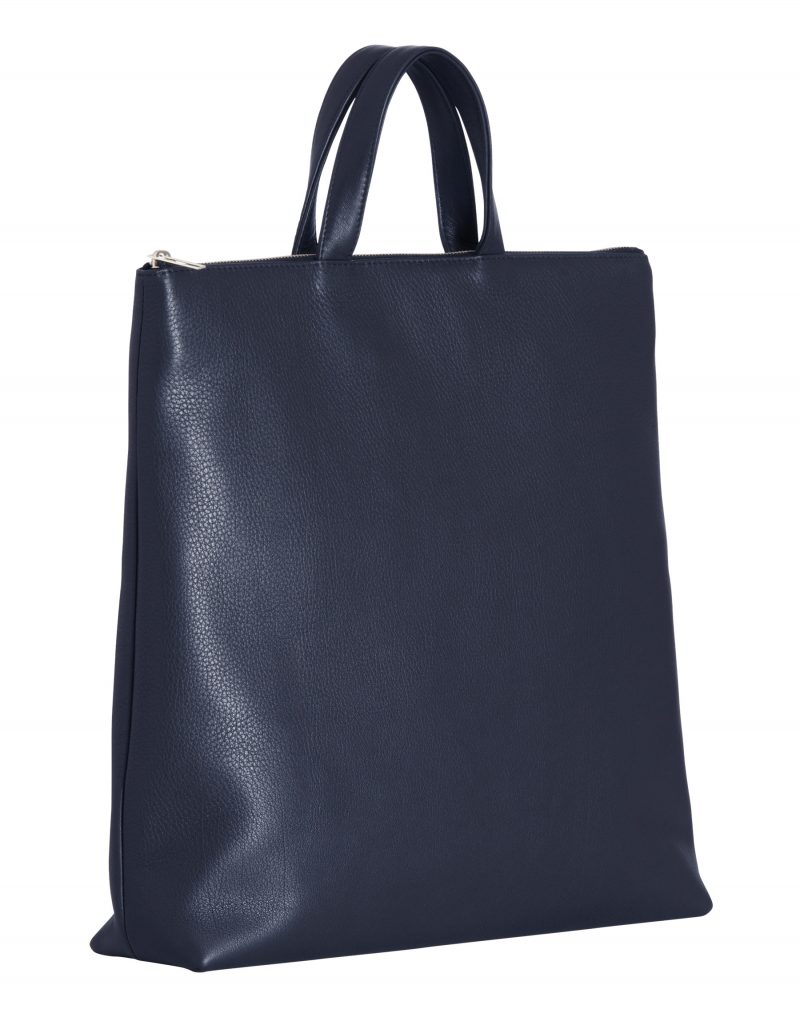 LUCID tote bag in navy blue calfskin leather | TSATSAS