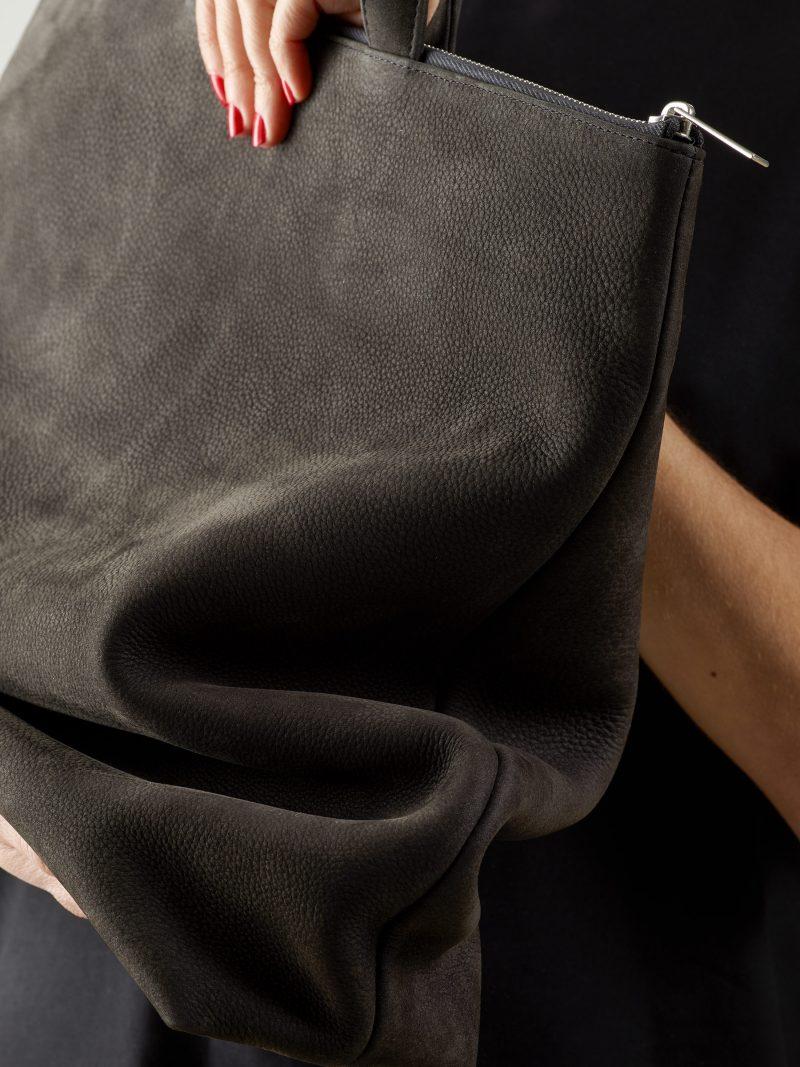 LUCID tote bag in black grey nubuck leather | TSATSAS