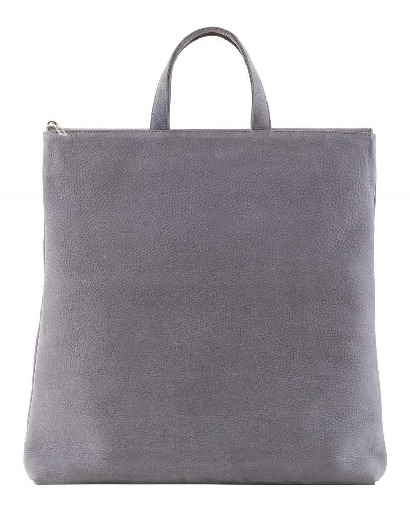 LUCID tote bag in medium grey nubuck leather | TSATSAS