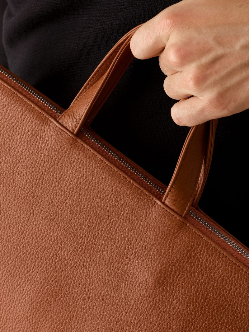 LUCID tote bag in tan calfskin leather | TSATSAS