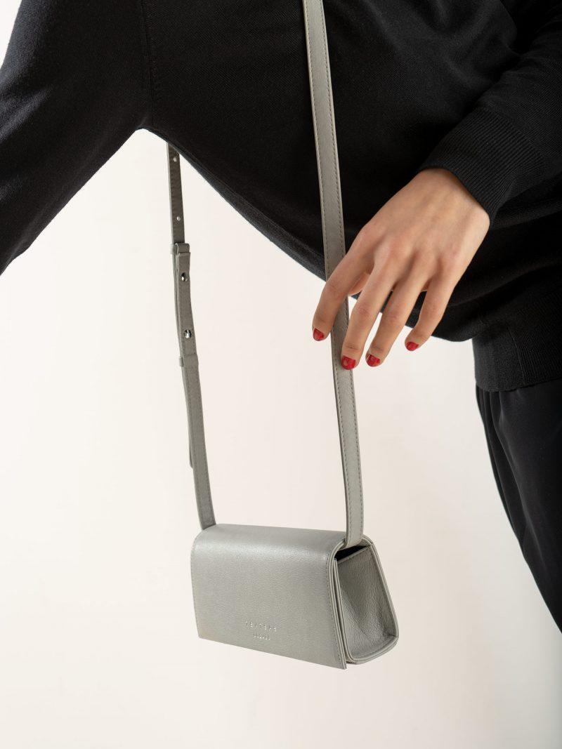 MALVA 1 bag in concrete grey calfskin leather | TSATSAS