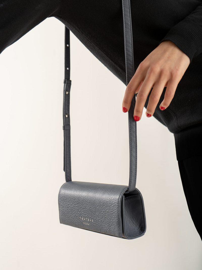 MALVA 1 bag in slate blue calfskin leather | TSATSAS