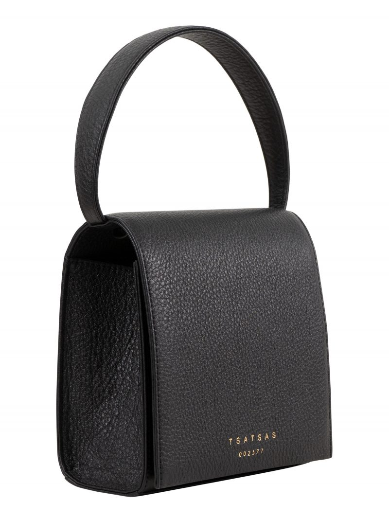 MALVA 2 hand bag in black calfskin leather | TSATSAS