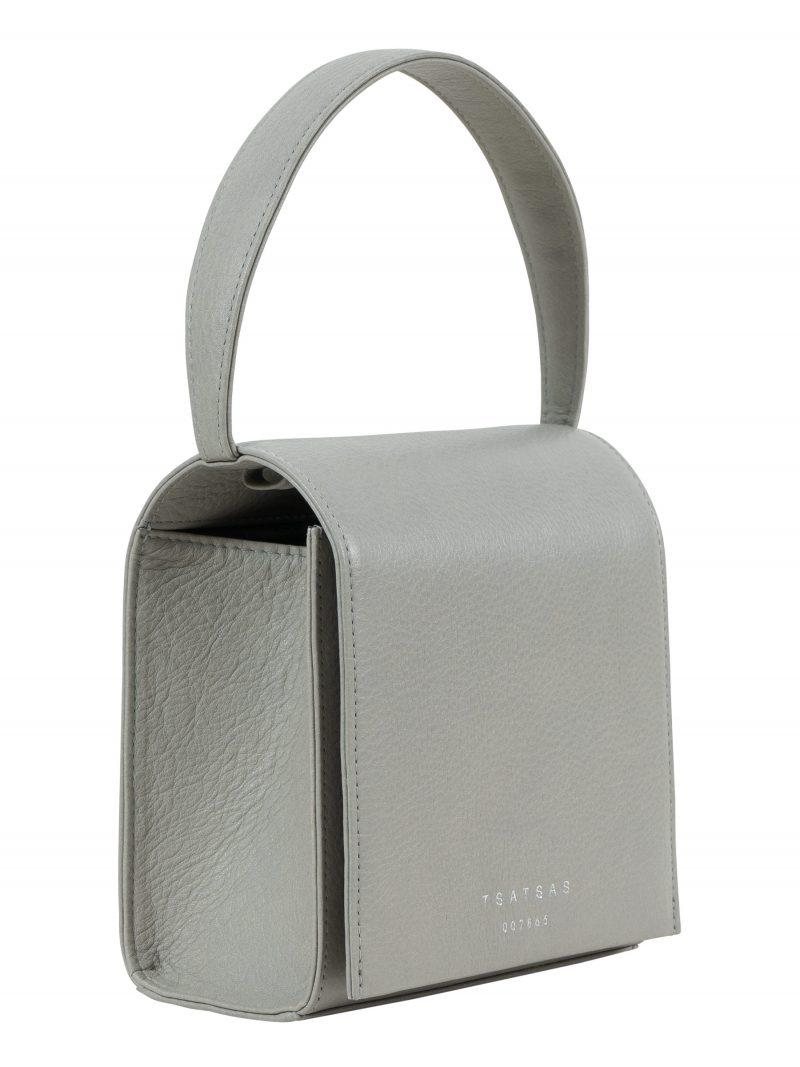 MALVA 2 hand bag in concrete grey calfskin leather | TSATSAS