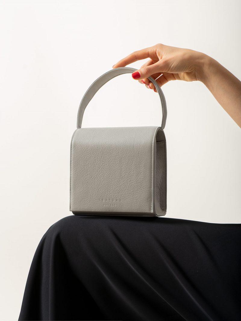 MALVA 2 handbag in concrete grey calfskin leather | TSATSAS