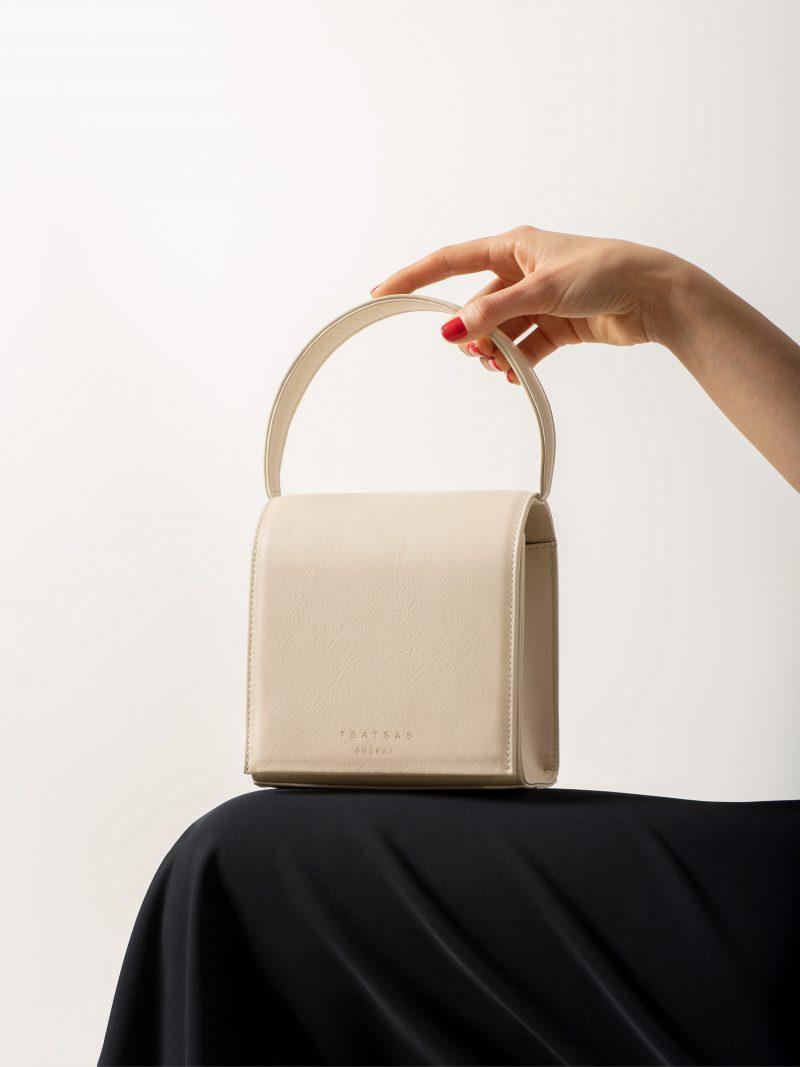 MALVA 2 handbag in ivory calfskin leather | TSATSAS