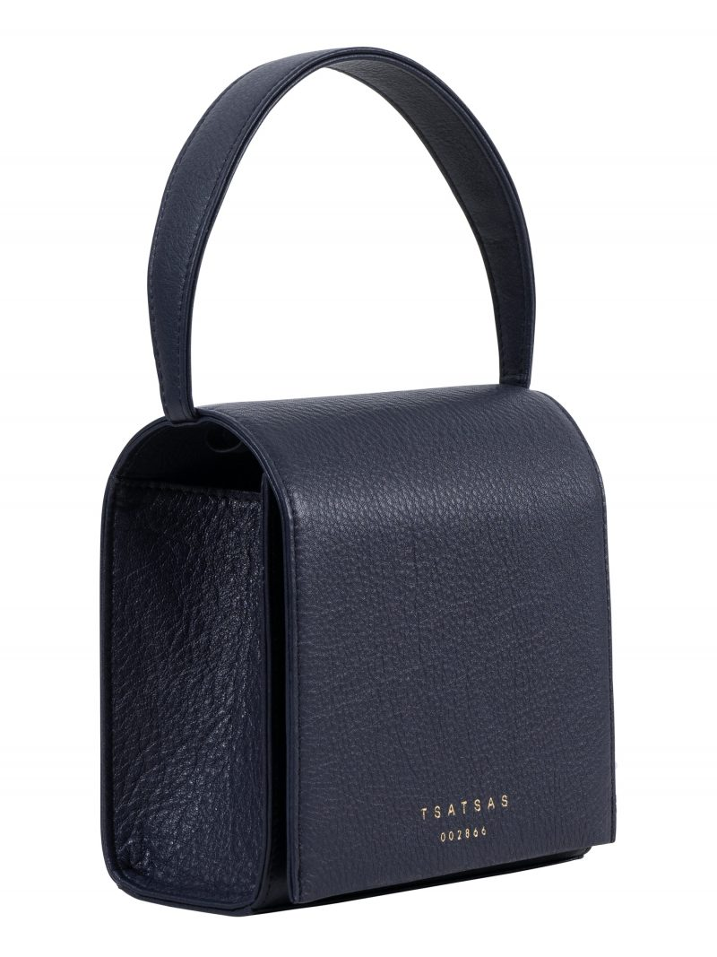 MALVA 2 hand bag in navy blue calfskin leather | TSATSAS