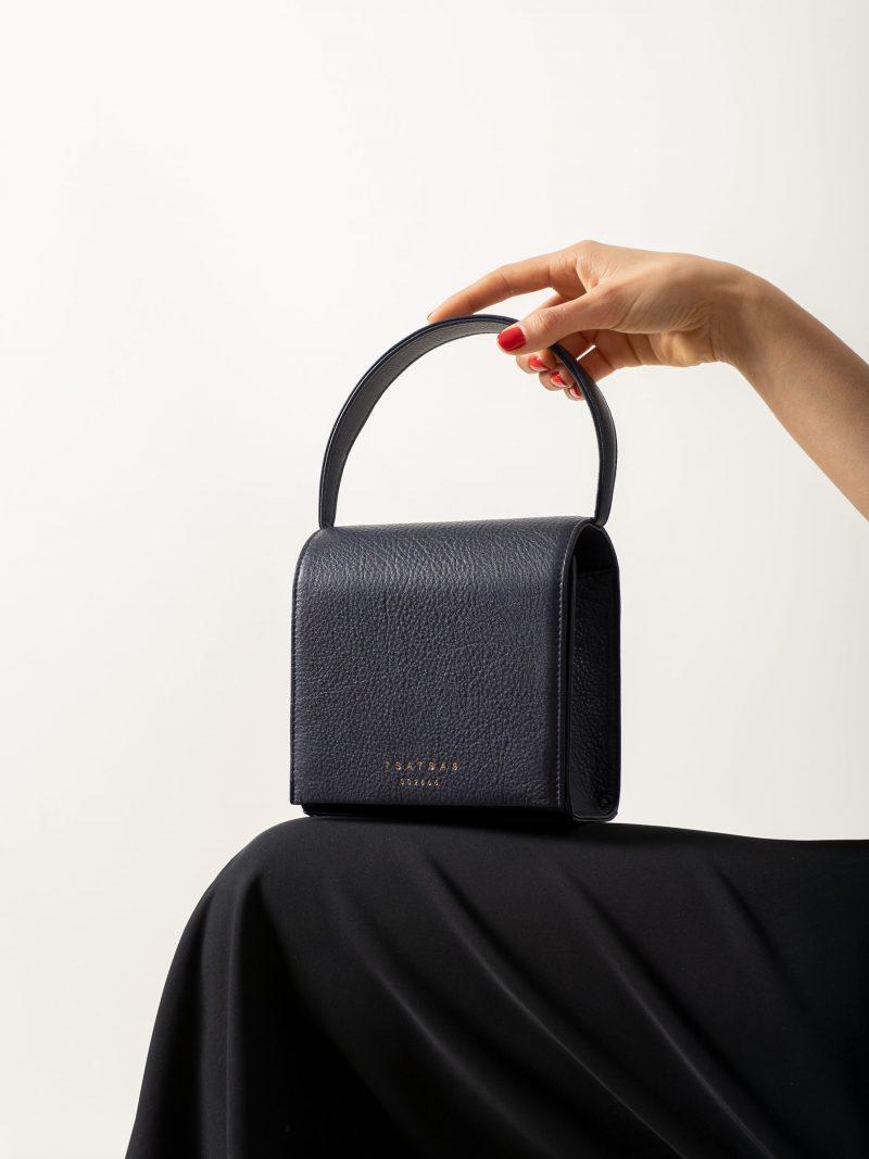 MALVA 2 handbag in navy blue calfskin leather | TSATSAS
