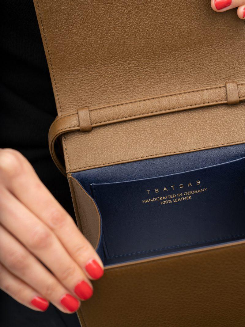 MALVA 2 handbag in olive brown calfskin leather | TSATSAS