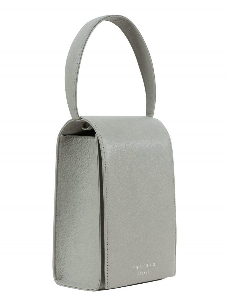 MALVA 3 hand bag in concrete grey calfskin leather | TSATSAS