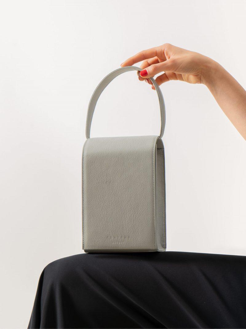 MALVA 3 handbag in concrete grey calfskin leather | TSATSAS