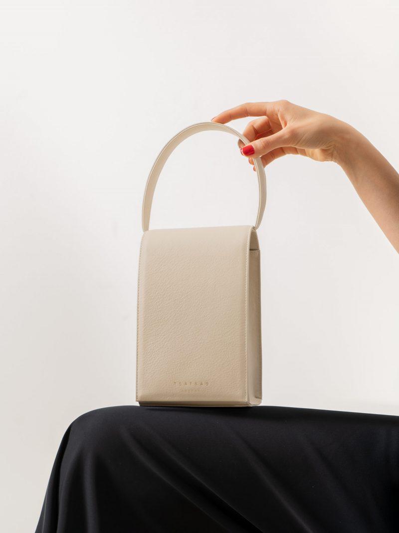 MALVA 3 handbag in ivory calfskin leather | TSATSAS