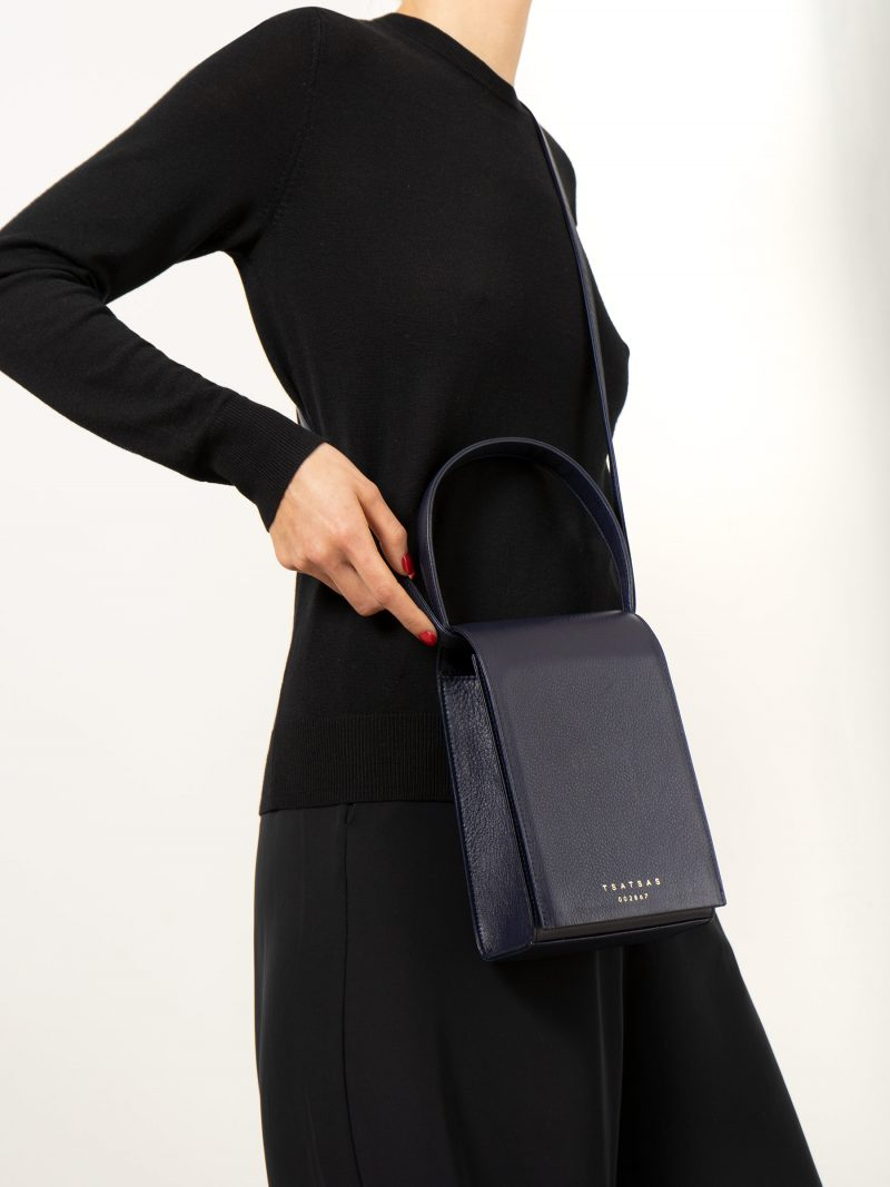 MALVA 3 handbag in navy blue calfskin leather | TSATSAS
