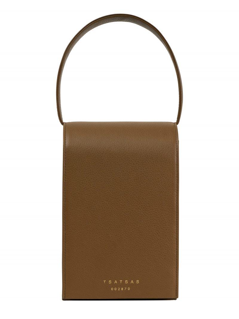 MALVA 3 hand bag in olive brown calfskin leather | TSATSAS