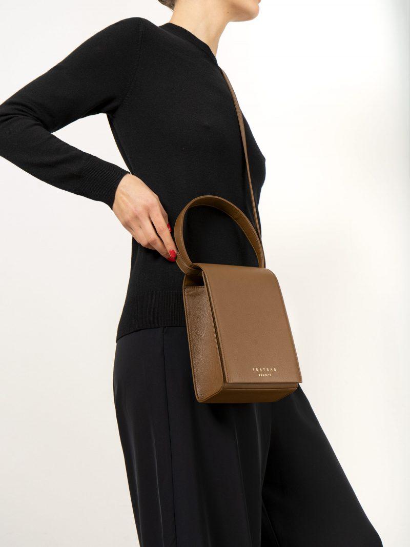 MALVA 3 handbag in olive brown calfskin leather | TSATSAS