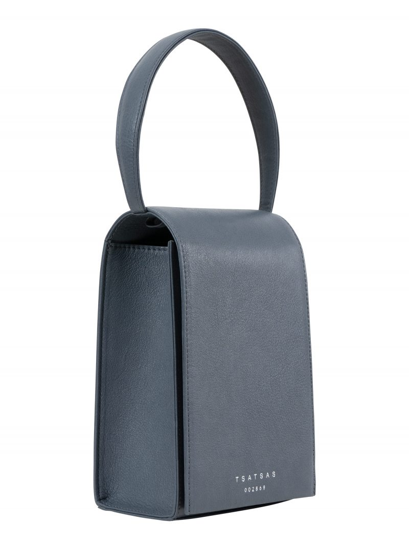 MALVA 3 hand bag in slate blue calfskin leather | TSATSAS