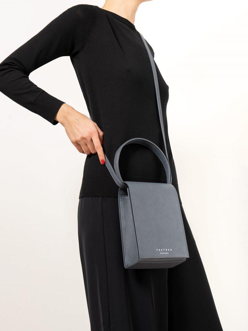 MALVA 3 handbag in slate blue calfskin leather | TSATSAS